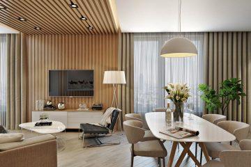Декоративные рейки из дерева и МДФ на потолок