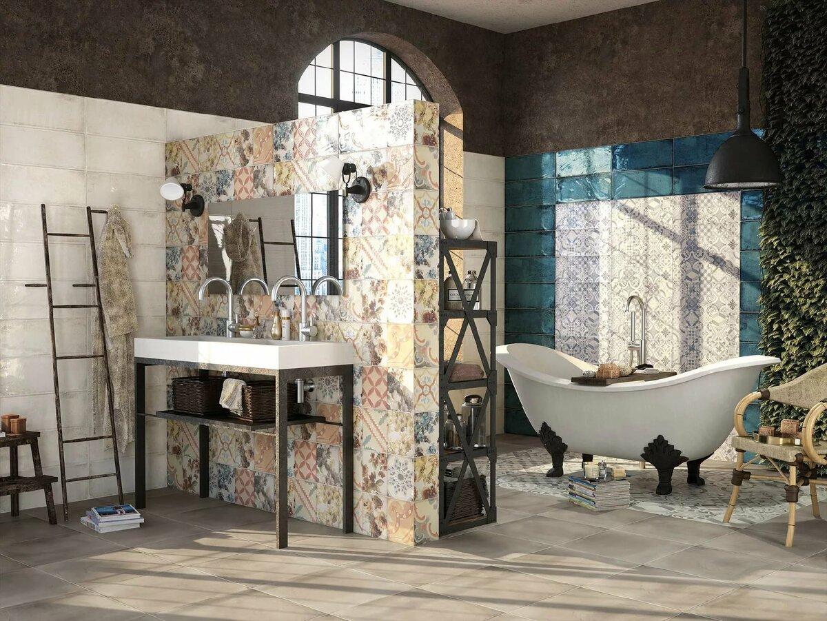 яркая испанская плитка для ванной комнаты