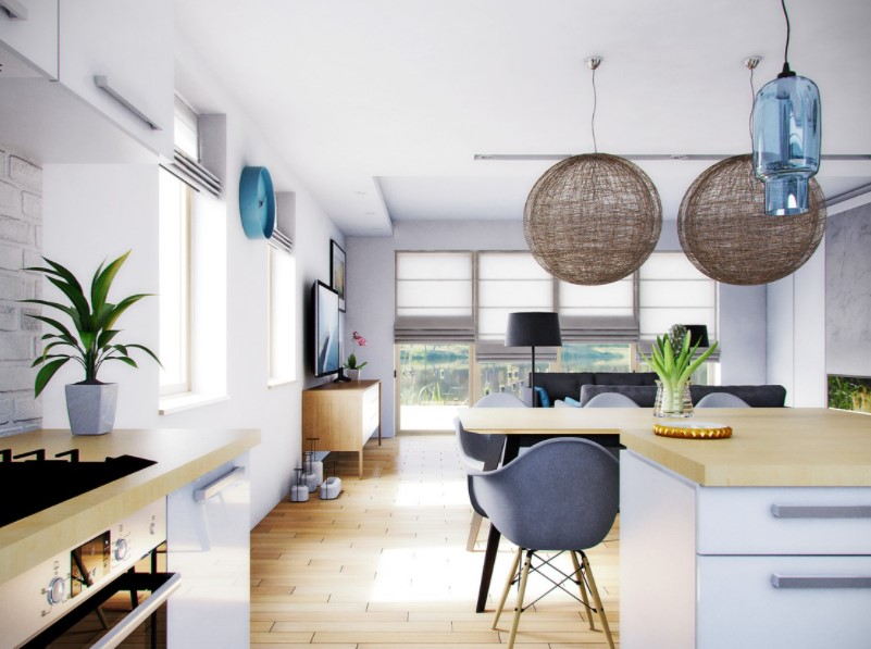 Отделочные материалы определяют определенные зоны в комнате, которые выполняют несколько функций.
