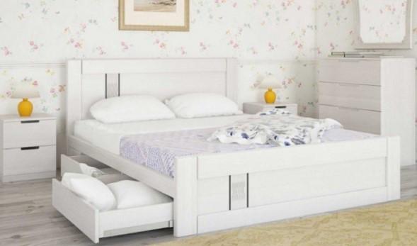 белая дубовая двуспальная с ящиками