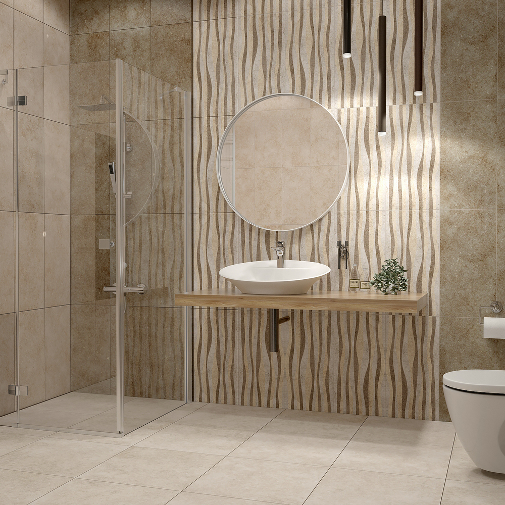 плитка бежевая для ванной комнаты